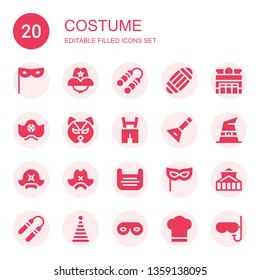 costume icon set. Collection of 20 filled costume icons included Mask, Cowboy hat, Nunchaku, Masks, Theater, Pirate hat, Lederhosen, Balalaika, Witch hat, Party Eye mask