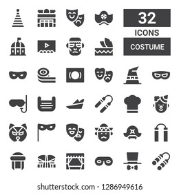 costume icon set. Collection of 32 filled costume icons included Nunchaku, Costume, Eye mask, Theater, Indonesia, Turban, Pirate hat, Mariachi, Masks, Mask, Clown, Chef hat, Robin hood