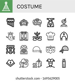 costume icon set. Collection of Fun hat, Zampona, Kokoshnik, Carnival mask, Joker, Clown, Ghost, Suit, Eye mask, Chef hat, Mask, Bandana, Mantle, Mrs, Buffoon, Overall icons