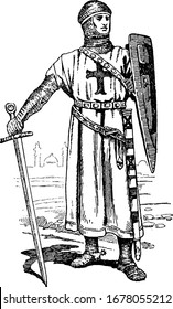 The costume of a knight of the First Crusade. Showing three images of knight in full costume, vintage line drawing or engraving