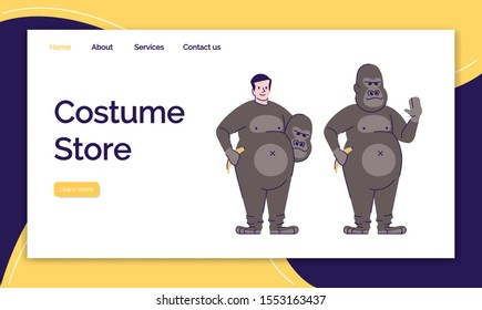 Costume store landing page vector template. Holiday clothing for selling website interface idea, flat illustrations. Animal costumes homepage layout. Monkey suit web banner, webpage cartoon concept