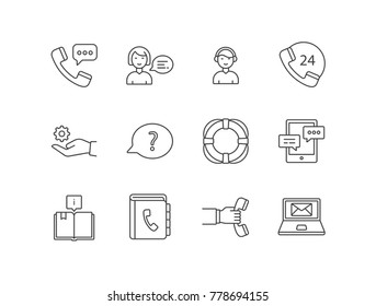 Costumer support service line icons set with call center, assistant, operator, technical support, question, life buoy ring, chat, directory book, callback.