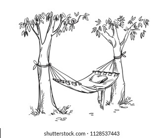 Cosy hammock in a garden. Vector linr drawing