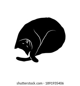 Cosy hand drawn cat. Sleeping. Vector illustration. Editable lines. Black and white.