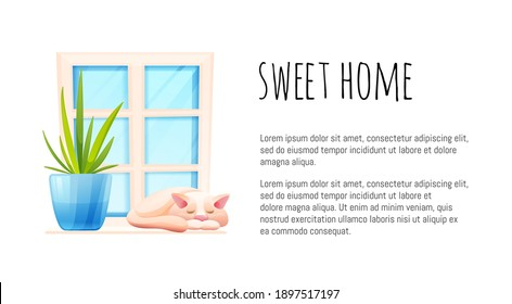 Cosy home concept. Kitten and domestic plant on the windowsill. Banner template, vector illustration in cartoon style