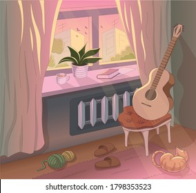 Cosy interior with a guitar, potted plant, red cat, home slippers and knitting thread. A cup of coffe and a good book are waiting on a window shell. Beautiful, calm and cosy backround.