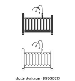 Cot for baby vector  icon.