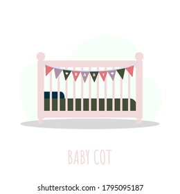 Cot icon. Simple element from baby things icons collection. Creative baby cradle for ui, ux, apps, software and infographics. Vector illustration in flat style.