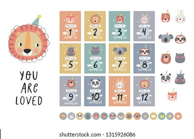 Cote Birthday stickers with animals for baby. Vector stickers for Bby Shower. Avesome vector an imalface. Vector pint with fox, lion, hippo, panda, frog, bear,  bunny, sloth, koala