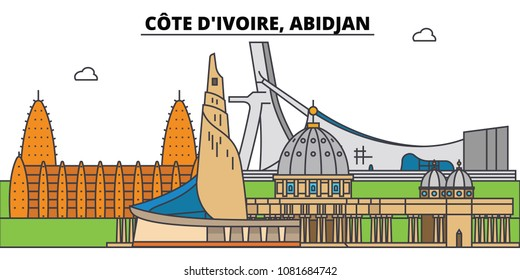Cote D ivoire, Abidjan. City skyline, architecture, buildings, streets, silhouette, landscape, panorama, landmarks. Editable strokes. Flat design line vector illustration concept. Isolated icons