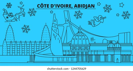 Cote d Ivoire, Abidjan winter holidays skyline. Merry Christmas, Happy New Year decorated banner with Santa Claus.Flat, outline vector.Cote d Ivoire, Abidjan linear christmas city illustration