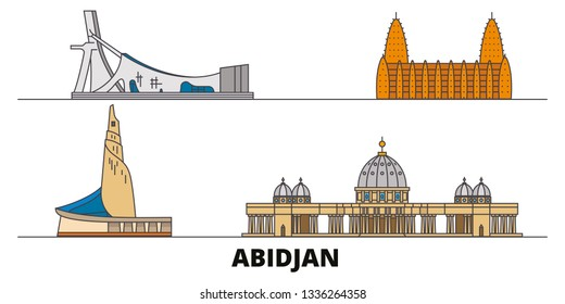 Cote Divoire, Abidjan flat landmarks vector illustration. Cote Divoire, Abidjan line city with famous travel sights, skyline, design.