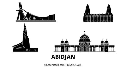 Cote Divoire, Abidjan flat travel skyline set. Cote Divoire, Abidjan black city vector illustration, symbol, travel sights, landmarks.