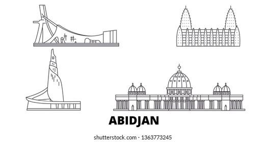 Cote Divoire, Abidjan line travel skyline set. Cote Divoire, Abidjan outline city vector illustration, symbol, travel sights, landmarks.