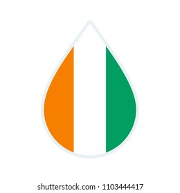 Cote d'Ivoire flag icon. Water icon. Drop water.  badge. Flag drop.