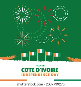Cote d'Ivoire independence day celebration with the green theme, its national flags, and fireworks. African country national day vector illustration.