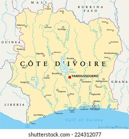 Cote D'Ivoire Political Map with capital Yamoussoukro, national borders, important cities, rivers and lakes. English labeling and scaling.
