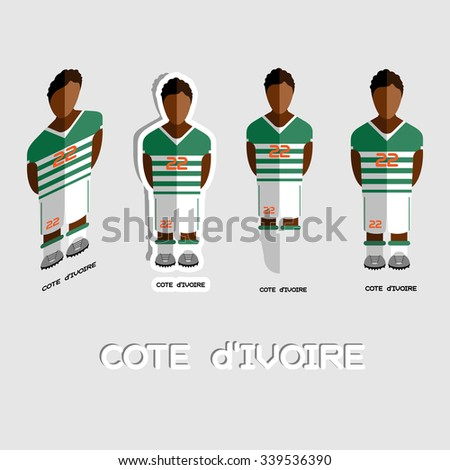 fcc1e223dcb Cote d Ivoire Soccer Team Sportswear Template. Front View of Outdoor  Activity Sportswear for Men and Boys. Digital background vector  illustration.