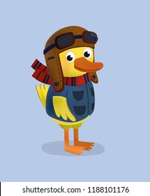 cote duck in a pilot uniform, scarf, hat and aviator goggles. children`s character design, vector illustration