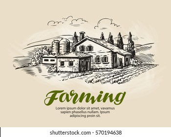 Cottage, country house sketch. Farm, rural landscape, agriculture, farming vector illustration