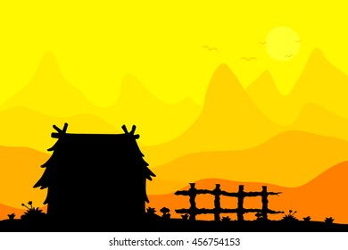 Cottage in farm and mountain landscape vector