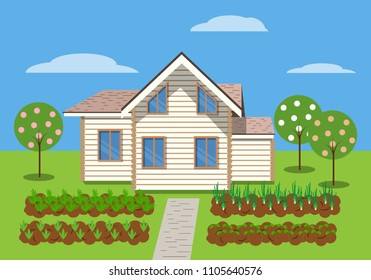 Cottage house with beds and fruit trees around. Summer illustration in flat style.