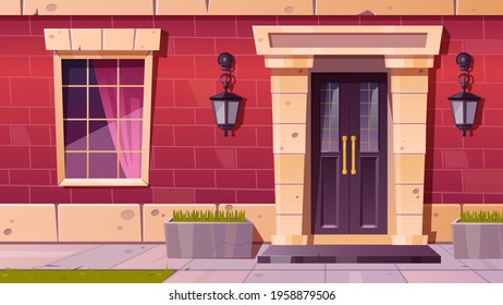 Cottage house facade front view, home building exterior of red brick with window, door and rug at doorstep with plants in flowerbeds, tiled path and green lawn at yard, Cartoon vector illustration