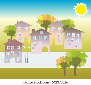 Cottage houses in the town, a bright sunny day, for scenery, for application and decoration. Vector hand flat illustration