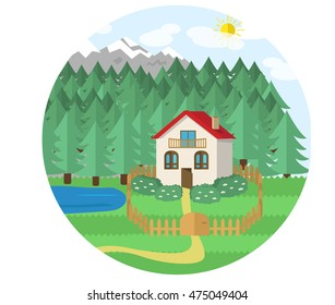 cottage in mountains view