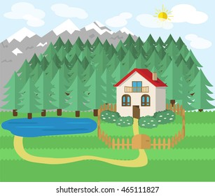 cottage in nature mountains and forest countryside