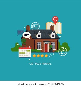 Cottage rental concept vector design element with small Georgian cottage as vacation home or guest house, location map, calendar, ratings and other property renting themed symbols