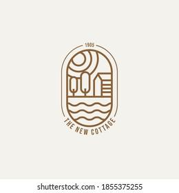 cottage simple line art logo template vector illustration design
