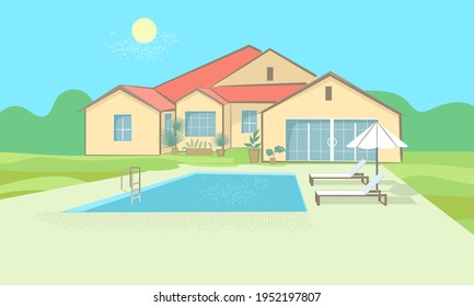 Cottage with a swimming pool, sun loungers and sunshade. Recreation area in the house, hotel, Spa. Vector sketch in a simple flat style.