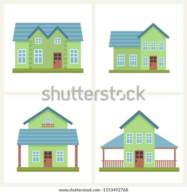 かわいいカラフルな家のコテージベクターイラストセット 家と家のデザインコレクション 不動産デザインのベクター画像グラフィック 村の風景の建物 のベクター画像素材 ロイヤリティフリー