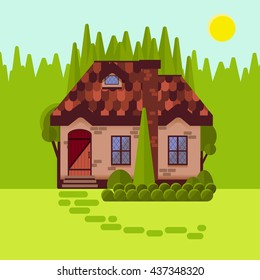 The cottage in the woods, flat style. Bright sunny day. Cosy little house made of stone or brick. Forest cabin amongst pines and firs. Vector illustration.