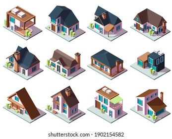 Cottages isometric. Luxury houses small villages residential towns facades garish vector buildings