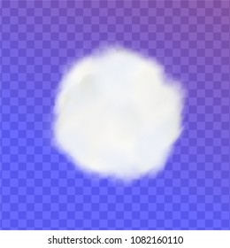 Cotton ball pom or round soft white cloud isolated on transparent background. Vector illustration.