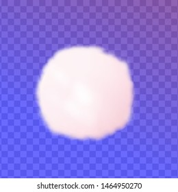 Cotton ball pom or round soft pink cloud isolated on transparent background. Vector illustration.