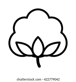 Cotton boll / flower line art vector icon for apps and websites