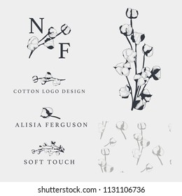 Cotton bud leaf flower vector hand drawn logo template, packaging, label, identity, branding. Stylish logo and pattern design with sketch vector illustration of cotton flower.