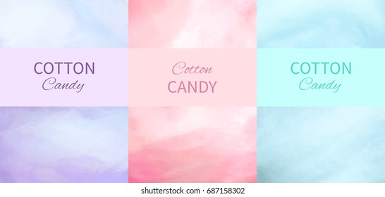Cotton candy backgrounds in purple, pink and blue colors with place for advertisement text vector illustration. Dessert for children called sugar glass