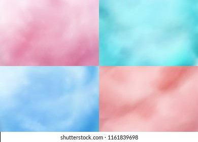 Cotton candy backgrounds. Realistic candyfloss sweet dessert vector textures. Cotton candy sweet dessert, background sweetness wool illustration