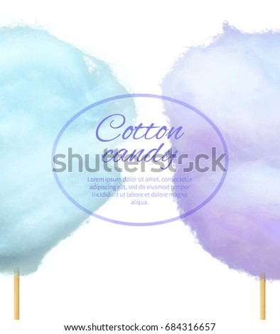 Cotton Candy Banner Sweet Floss Form Stock Vector (Royalty