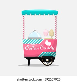Cotton candy cart, kiosk on wheels, retail, sweets and confectionery, isolated and fle style Vector Illustration. Sugar cloud dessert Illustration for your projects.