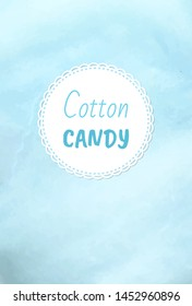 Cotton candy holiday treats logo, fluffy candyfloss of blue color. Vector blueberry taste confectionery made of sugar, summer trip for kids, airy sweetness