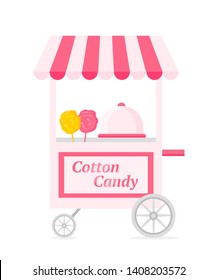 Cotton candy kiosk flat vector illustration. Candyfloss trolley. Small business, takeaway service, sweets sale. Delicious fast food cart, carnival booth, quick snack stand. Sugar product, dessert