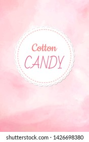 Cotton candy logo, fluffy candyfloss of pink color. Vector raspberry, cherry or strawberry taste confectionery made of sugar, candy background, summer trip for kids