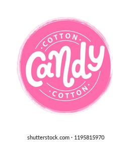 Cotton candy on stick. Text logo lettering for dessert cotton candy for kids. Hand drawn vector illustration for sweet cotton candy design. Print poster, flyers, stickers, tee, shirt. Pink color.