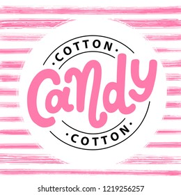 Cotton candy on stick. Text logo lettering for dessert for kids. Hand drawn vector illustration for your design. Print poster, flyers, stickers, tee, shirt. Pink color.
