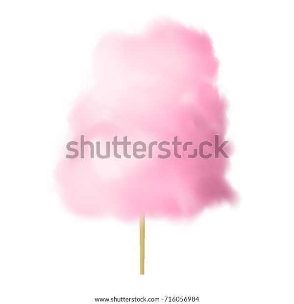 Cotton Candy Pink Sugar Clouds Realistic Stock Vector